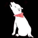白い犬が歌うイラスト画像