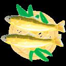 ざるにのった生の鮎のイラスト
